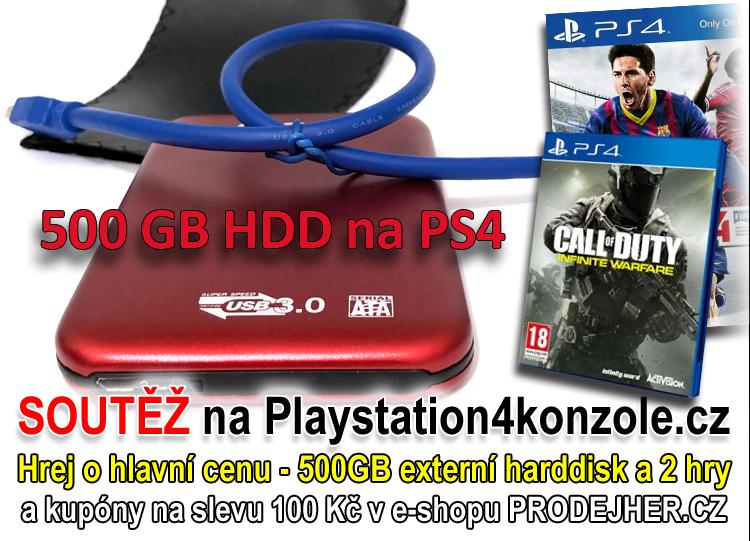 O Playstation 4 harddisk 500GB a dvě PS4 hry