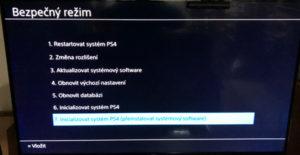volba reinstalace PS4 OS v safe módu (bezpečný režim)