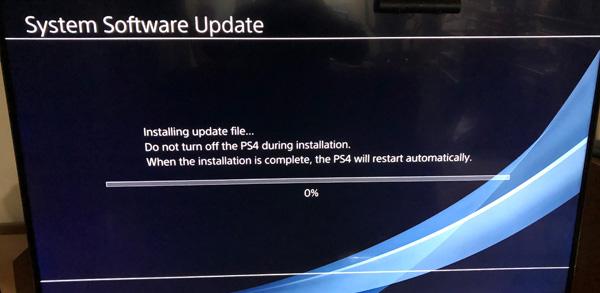 průběh reinstalace PS4 OS