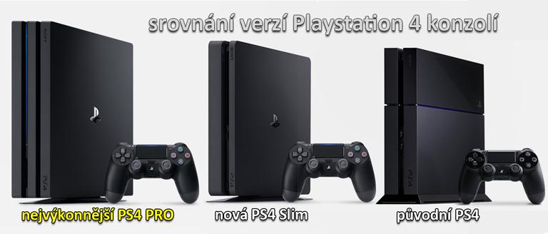 srovnání PS4 PRO, PS4 Slim a PS4