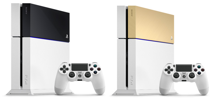 Playstation 4 Glacier White with black and gold covers